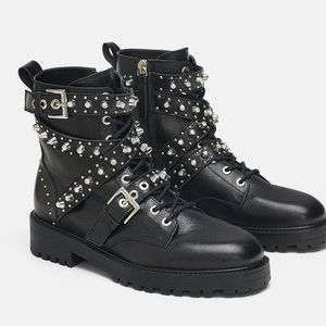 NWT Zara Leather Jewel Detail Ankle Boots